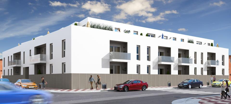 Vemos la fachada del edificio Metropol de obra nueva en Albolote (Granada). Pisos a la venta modernos en Granada.